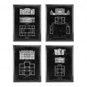 Prints EC212 Graphic Building & Plan set of 4 отпечаток Eichholtz