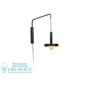 20167 WHIZZ Black and satin gold extensible wall lamp настенный светильник Faro barcelona