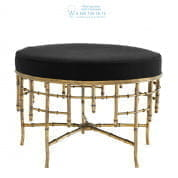 111253 Stool Alessia L vintage brass finish albin black  Eichholtz