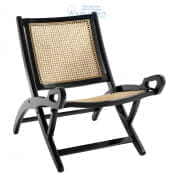 112430 Folding Chair Dimono black finish natural cane  Eichholtz