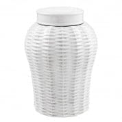 Vase Fort Meyers white ceramic rattan L керамика Eichholtz