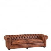 Club Sofa Gymnasium 240cm tobacco leather диван Eichholtz