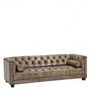 Sofa Paolo olive light leather диван Eichholtz