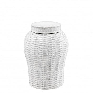 Vase Fort Meyers white ceramic rattan S керамика Eichholtz